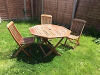 Sean Com Teak Wood Octogan Garden Table And 3 Chairs Set