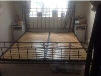 Super king wrought iron ball and cage bed frame