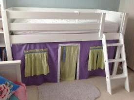 Children's low loft bed white solid wood