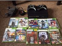 Xbox 360 with two controllers and 10 games