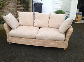***REPRICED!!*** RUSTIC WICKER M&S THREE PERSON GENEROUS SOFA FOR CONSERVATORY/LIVING/KITCHEN AREA