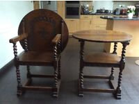 2nr Mock Anitque Table Chairs
