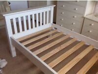 Single wooden bedstead, Ivory coloured