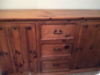 Chunky wooden sideboard,with metal studs,