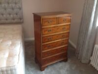 Tall boy chest of drawers - Reprodction Yew Wood