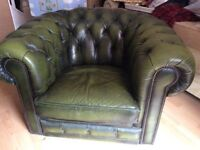 Armchairs x2 - chesterfield- vintage green leather - immaculate condition