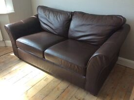 Marks and Spencer Abbey Brown Leather Sofa