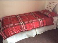 Single divan bed Including mattress