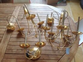Brass ceiling and wall lights