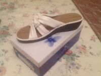Brand new in box low wedge heel white sandles cushion insole