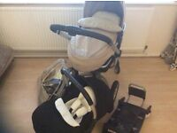 Silver cross surf pram and isofix carseat (complete travel system)