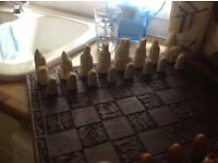 Lewis Chess set with wooden board