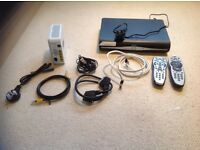 Sky hd+ box with Sky hub, adsl ,satellite, scart, Ethernet, mains cables and tv remote