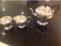 Silver Plated Tea Pot, Sugar Bowl & Milk Jug