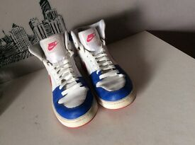 Nike ladies high tops, white with blue and pink, ladies size 4.5