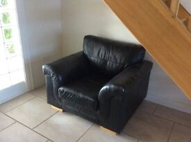 Real leather arm chair Black