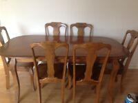 Large oak table and 6 chairs very solid