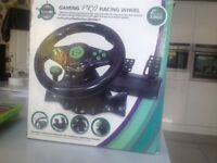 Used Xbox 360 Gaming Wheel and 3 Games