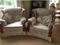 Three seater settee with 2 matching arm chairs and 4 matching scatter cushions for sale.