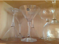 Set of crystal cocktail glasses