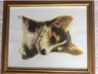 """Framed sketch of a dog titled """"Corgi"""""""