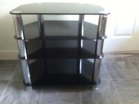 Black Gloss Glass Small TV Stand 60cm Wide (Excellent Condition)