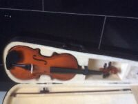 Musicians fiddle 4/4 violin as new played twice with bag bow and case