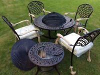 BBQ fire pit table & 4 chairs with cushions black similar Jamie Oliver,retails 899 new boxed