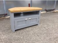 New solid pine handmade tv corner unit cabinet table chunky rustic shabby chic farmhouse furniture