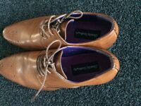 SIZE 8 TAN MENS LEATHER UPPER CHARLES SOUTHWELL FORMAL SHOES.WORN ONCE
