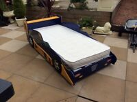 Kids Full Sized Racing Car Bed In Excellent Condition x2 Mattreses Can Deliver
