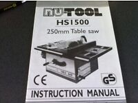 NU-TOOL 250mm TABLE SAW
