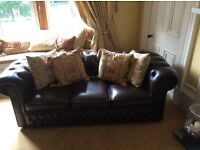 Chesterfield 3 seater sofa, wing chair and club chair