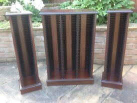 3 CD Racks 1 x Triple 2 x Single in mahogany