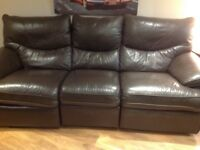 BROWN LEATHER RECLINER THREE SEATER SOFA