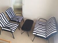 Lovely Conservatory Garden Patio Set - Metal Framed with Blue Striped Removable Cushions