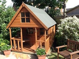 TWO-TIER GARDEN PLAYHOUSE WITH STAIRS AND UPPER BUNK