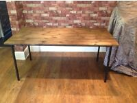 INDUSTRIAL DINING TABLE STEEL LEGS - TOP MADE FROM RECLAIMED WOOD DECKING - CAN DELIVER LOCALLY