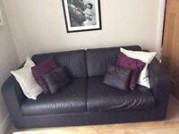 Sofa - habitat 3 seater brown leather sofa, immaculate condition.