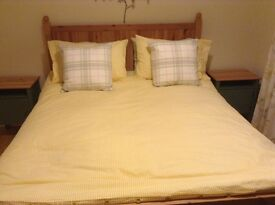 New king size solid pine bed frame and mattress