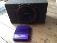 240W car amplifier and subwoofer