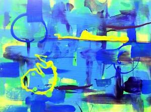 "New Original Art Painting Abstract Blue Green Yellow 14x18"" Valerie Koudelka on Black"