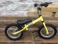 Yellow child's balance bike 18 months to 5 years