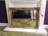 Great condition mirror for sale wooden frame for brass effect w 910 w660 measured from frame £25 .