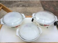 3 Pyrex casserole dishes, rose pattern, Large plate, 2 cream/sauce boats diner, tea plates and bowls