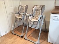 Chicco baby high chairs - ideal for twins