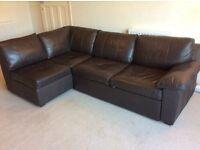 Chocolate brown leather corner sofa / sofa bed