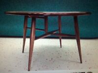 Vintage Mid Century Ercol Round Occasional/Coffee Table Drop Leaf Half Moon