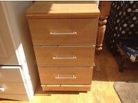 2 X bedside tables, solid, 3 drawers