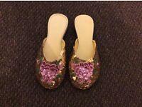Golden sequin flower pattern oriental style slippers size 4/5 (brand new